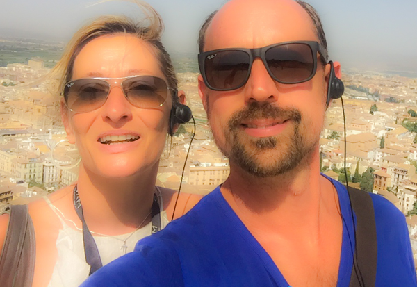 On a trip to the Alhambra two weeks after the fire, beautiful Granada in the background